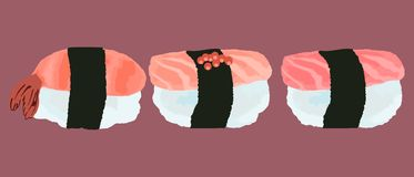 Vector illustration of sushi with with tuna, salmon, shrimp royalty free illustration