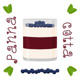 Vector illustration for sweet panna cotta. Abstract vector icon illustration logo for jelly blueberry panna cotta. Jelly pattern consisting of natural design Royalty Free Stock Images