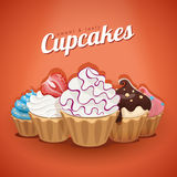 Vector illustration of sweet and tasty cupcakes Stock Photo