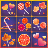 Vector illustration with  sweets Stock Images