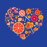 Vector illustration with  sweets heart Stock Photography