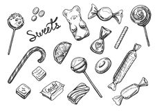 Sweets candies set Stock Images
