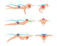 Vector illustration of swimming style scheme different swimmers man and woman in pool sport exercise. Stock Photography