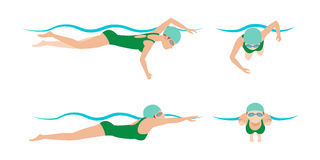 Vector illustration of swimming style scheme different swimmers man and woman in pool sport exercise. Vector illustration of swimming style scheme different Stock Image