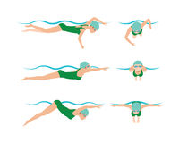 Vector illustration of swimming style scheme different swimmers man and woman in pool sport exercise. Vector illustration of swimming style scheme different Royalty Free Stock Images