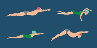 Vector illustration of swimming style scheme different swimmers man and woman in pool sport exercise. Royalty Free Stock Photography