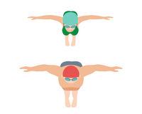 Vector illustration of swimming style scheme different swimmers man and woman in pool sport exercise. Royalty Free Stock Photo