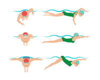 Vector illustration of swimming style scheme different swimmers man and woman in pool sport exercise. Royalty Free Stock Photos
