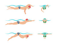 Vector illustration of swimming style scheme different swimmers man and woman in pool sport exercise. Vector illustration of swimming style scheme different Royalty Free Stock Photography