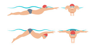 Vector illustration of swimming style scheme different swimmers man and woman in pool sport exercise. Royalty Free Stock Images