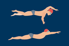Vector illustration of swimming style scheme different swimmers man and woman in pool sport exercise. Vector illustration of swimming style scheme different Royalty Free Stock Image