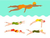 Swimming vector people style scheme different swimmers man and woman in pool sport pose people exercise illustration. Vector illustration of swimming style Royalty Free Stock Images