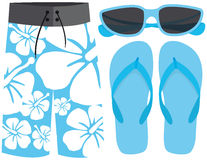 Swimsuit, sunglasses and sandals Stock Photos