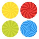 Vector illustration for swirl design. Swirling radial pattern background set. Vortex starburst spiral twirl Helix. Rotation rays. Converging psychedelic vector illustration