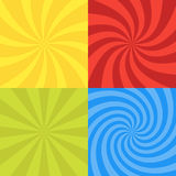 Vector illustration for swirl design. Swirling radial pattern background set. Vortex starburst spiral twirl square. Helix rotation Stock Photos
