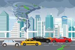 Vector illustration of swirling tornado and flood, thunderstorm in big modern city with skyscrapers. Hurricane in city. Car crash, danger concept in flat style vector illustration