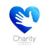Vector illustration. Symbol of Charity. Sign hand heart isolated on white background.Blue Icon company, web, card Royalty Free Stock Photo