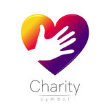Vector illustration. Symbol of Charity. Sign hand heart isolated on white background.Violet Icon company, web, card Royalty Free Stock Image