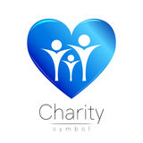 Vector illustration. Symbol of Charity.Sign people heart isolated on white background.Blue Icon company, web, card Royalty Free Stock Photo