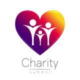 Vector illustration. Symbol of Charity.Sign people heart isolated on white background.Violet Icon company, web, card Royalty Free Stock Photography