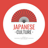 Vector illustration with symbol of Japan. Poster. Japanese culture. Symbol of Japan. Elements and icons for cards, illustration, poster and web design. Vector Stock Photo