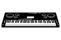 Vector illustration of a synthesizer. Keyboard musical instrument. Electonic music. Musical emblem. Black and white Royalty Free Stock Photo