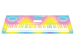 Vector illustration of a synthesizer. Keyboard musical instrument. Electonic music. Musical emblem. Color synthesizer Stock Image