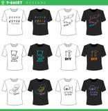 T shirt decorative designs collection. Vector Illustration of T-Shirt Cartoon Concept Decorations Designs Set stock illustration