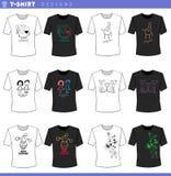 T shirt decorative designs concept set. Vector Illustration of T-Shirt Cartoon Concept Designs Collection stock illustration