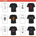 T shirt decorative concept designs set. Vector Illustration of T-Shirt Cartoon Concept Designs Set stock illustration
