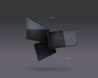 Vector illustration of tablet pc. Vector illustration of 3 tablet pc in the air Stock Photo