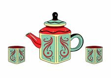 Teapot and muggs. Vector illustration of tableware, EPS 8 file Stock Photos