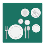 Vector illustration tableware serving with dinnerware and glass. Vector illustration tableware serving with dinnerware, plate and glass in flat silhouettes Stock Image
