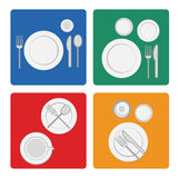 Vector illustration tableware serving with dinnerware and glass. Vector illustration tableware serving with dinnerware, plate and glass in flat silhouettes Royalty Free Stock Photography