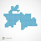 Tajikistan map and flag icon. Vector illustration of Tajikistan map dotted basic shape icons and flag Stock Images