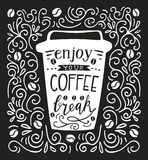 Vector lettering illustration with coffee Stock Photos