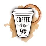 Vector illustration of a take away coffee cup with phrase. `Coffee to go` with watercolor splashes of spilled coffee. Vintage drawing for drink and beverage vector illustration