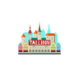 Vector illustration of Tallinn Estonia with city hall and cute s Royalty Free Stock Images