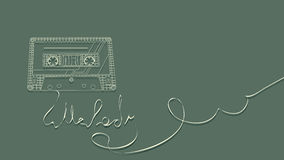 Vector illustration of tape cassette on green. Stock Photo