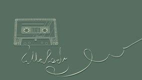 Vector illustration of tape cassette on green. Stock Photo