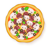 Vector illustration of Tasty, flavorful pizza isolated on white background. Stock Photo