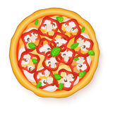 Vector illustration of Tasty, flavorful pizza  on white background. Royalty Free Stock Photo