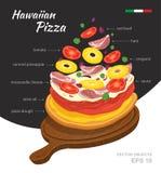 Vector  illustration of tasty hot Hawaiian Pizza on wooden board.. Falling ingredients. Traditional Italian recipe. Infographic creative design. Fastfood Stock Photos