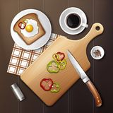 Sandwich with egg. Vector illustration of tasty sandwich with egg and chopped bell pepper for breakfast on wooden table. Top view Stock Photos
