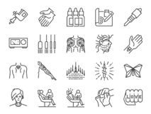 Tattoo line icon set. Included icons as skin, body, artist, style, art and more. royalty free illustration