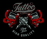 Vector illustration of tattoo machines on a dark background. royalty free illustration
