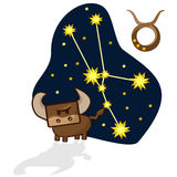 Vector illustration of the Taurus with a rectangular face. Cartoon Zodiac signs. A schematic arrangement of stars in the constellation Taurus Stock Photography