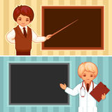 Vector illustration of the teacher and doctor. Vector illustration of the doctor and the teacher on a workplace Stock Photo