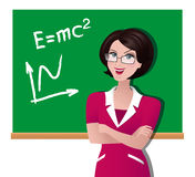 Vector illustration of a teacher at a school board. Happy Teachers Day. Back to school. Beautiful clever woman pedagogue leads the lesson. Lecturer brunette.n Stock Image