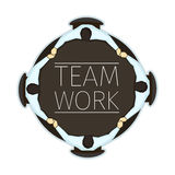 Vector illustration of team work concept emblem with four office Stock Photography